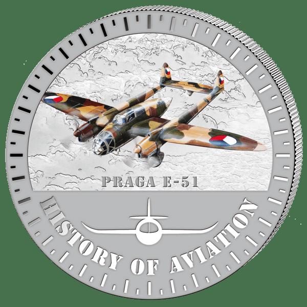Československý letoun na minci Burundi 5.000 F 2015