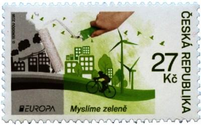 """Známky emise Europa na námět """"Ekologie v Evropě – Myslíme zeleně"""""""