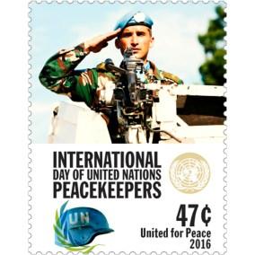 Detail známky z aršíku k Mezinárodnímu dni mírových sil OSN