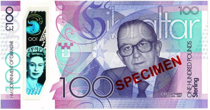 Gibraltar vydává první 100librovou polymerovou bankovku