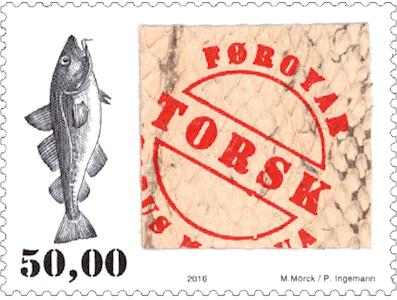 Známka z rybí kůže vydaná Faerskými ostrovy