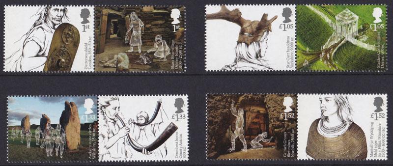 Nové britské známky na námět prehistorické Británie