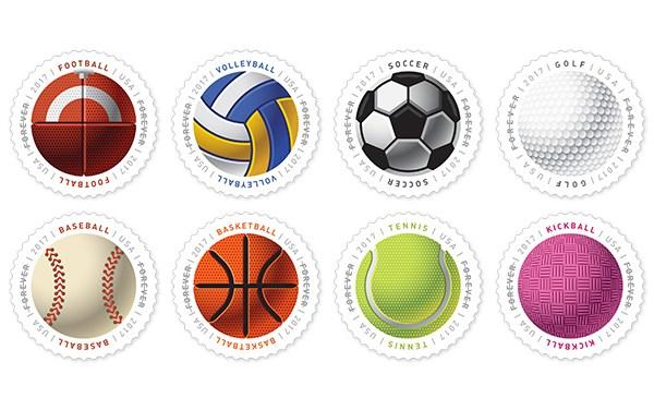 Nové americké známky oslavují míčové sporty