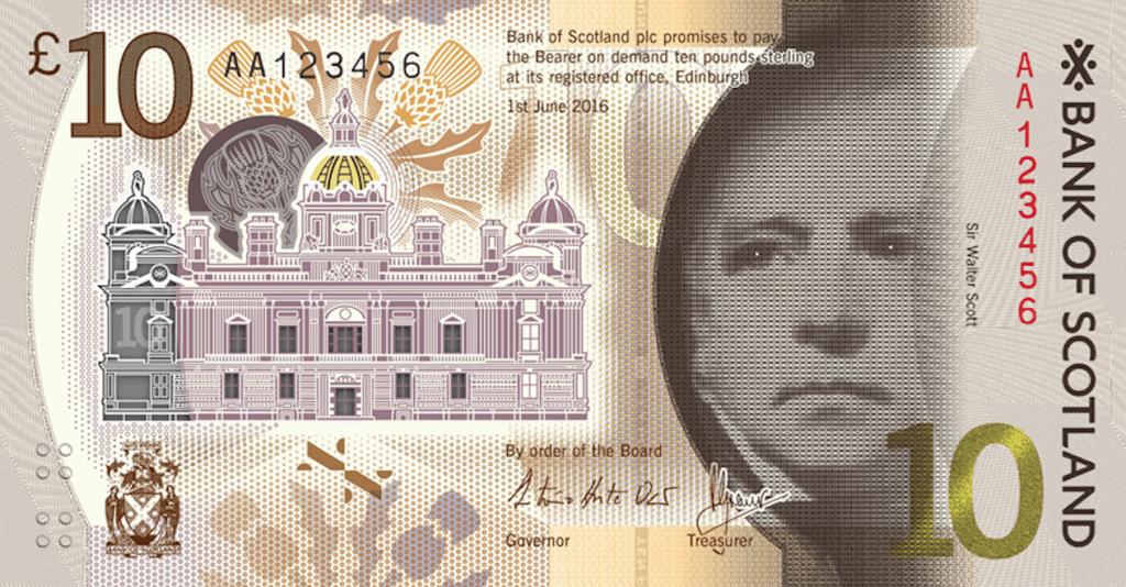 Nové skotské bankovky 10 GBP představeny veřejnosti