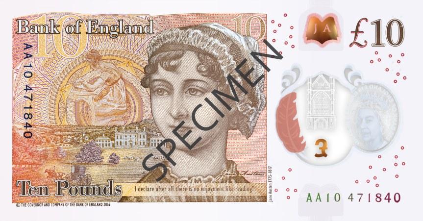 Nové britské bankovky 10 £ s portrétem Jane Austenové