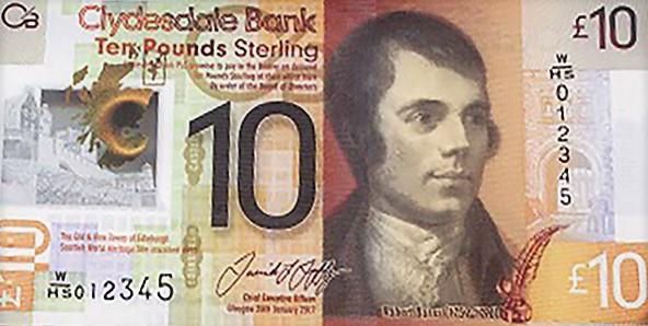 Nové skotské bankovky 10 £ s Robertem Burnsem