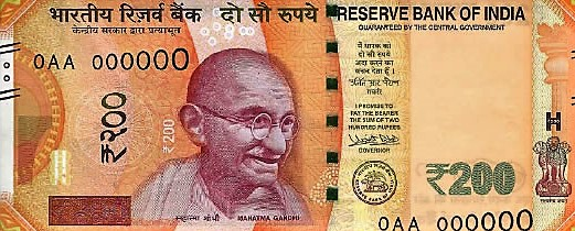 První nové indické bankovky v hodnotě 200 rupií