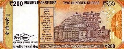 Nové indické bankovky 200 rupií