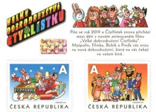 Známky Čtyřlístek, zdroj: Česká pošta