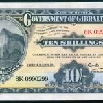 Gibraltar:  replika bankovky 10 Shillings
