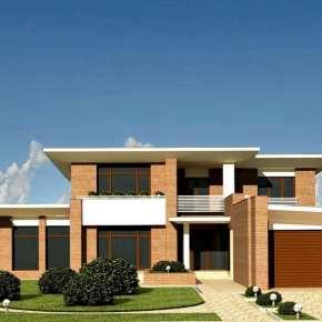 Проект двухэтажного кирпичного дома с плоской крышей