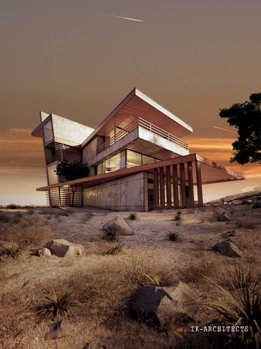 Проект коттеджа DESERT ROSE. Частный дом в пустыне.