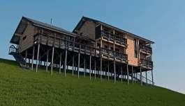 Проект дома из бруса на склоне