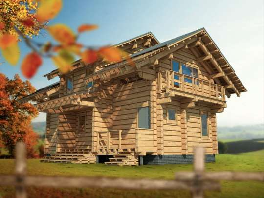 Проект современного дома из лафета на одну семью