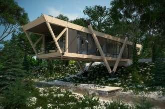 Проект деревянного дома на склоне