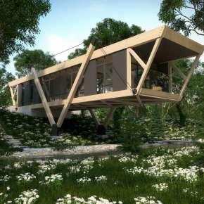 Проект деревянного дома на склоне «Дом у ручья»