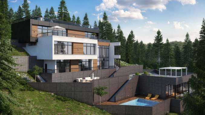 Проект современного дома на склоне