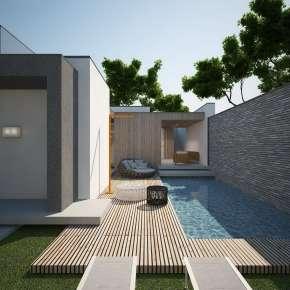 Проект семейного дома с бассейном, мини-СПА и террасой на участке до пяти соток