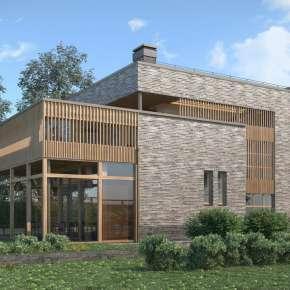 Проект кирпичного дома с плоской крышей
