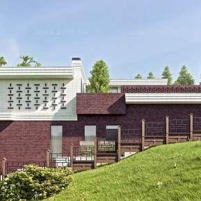 Проект кирпичного дома на склоне