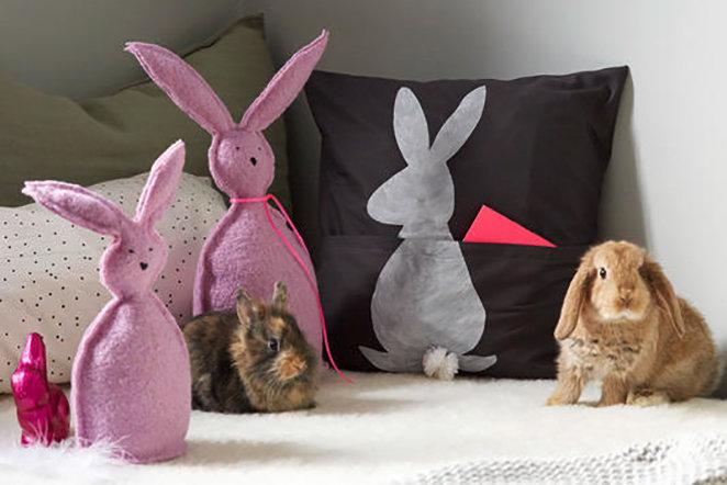 Hasen-Kissen mit Täschchen für Süßes nähen!