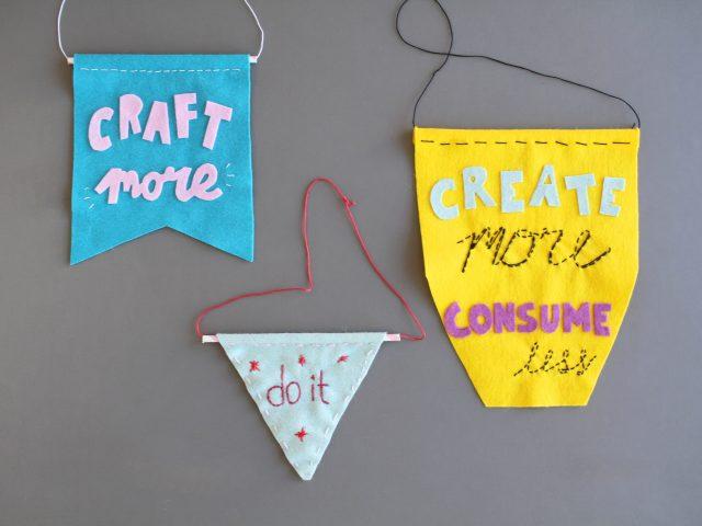 DIY-Wimpel aus Filz mit Typo-Statements