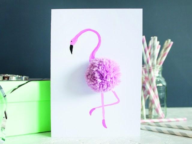 Flamingo-Party: Geschenkekarte selbst gemacht!