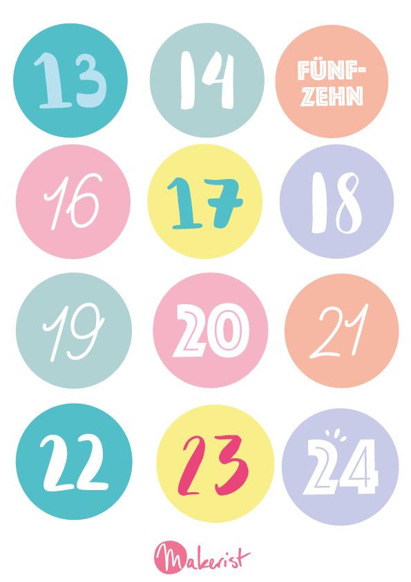Zahlen für adventskalender kostenlos ausdrucken