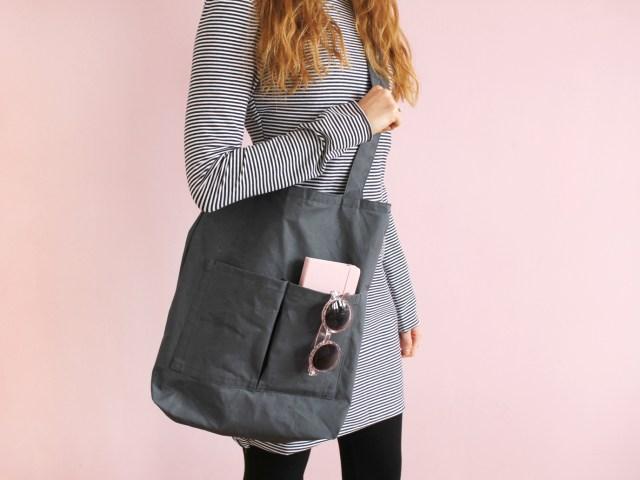 Tasche selber nähen: Shopper Bag mit Außenfächern
