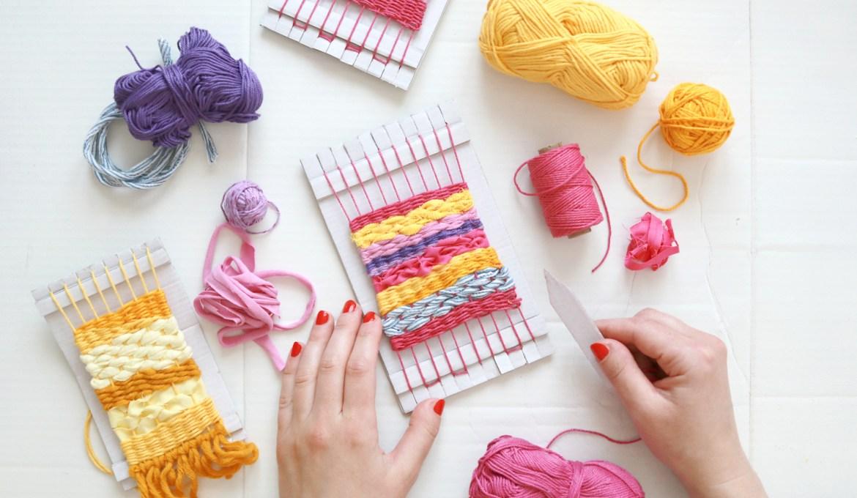 Upcycling DIY: Weben mit Stoffresten und Wolle