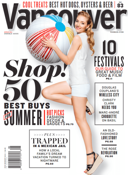 """""""July/August 2012"""" - Vancouver Magazine, Art Direction by Randall Watson"""