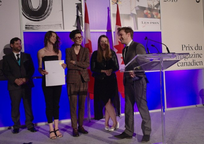 Jennifer Varkonyi (second from left, with envelope) accepts the National Magazine Award for Magazine of the Year with (from right) former Maisonneuve editors Daniel Viola and Haley Cullingham, former art director Anna Minzhulina, and Gala host Chris Turner.