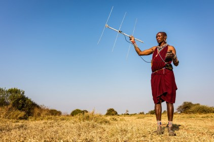 Tracking lions with Maasai men