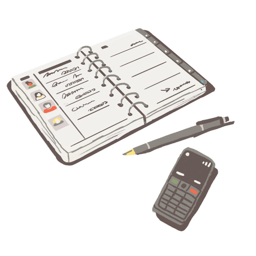 Illustration of a phone, a pen, and a spiral-bound address and telephone book