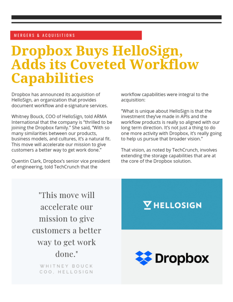 Dropbox Buys Hello Sign, Adds its Coveted Workflow Capabilities (PDF)