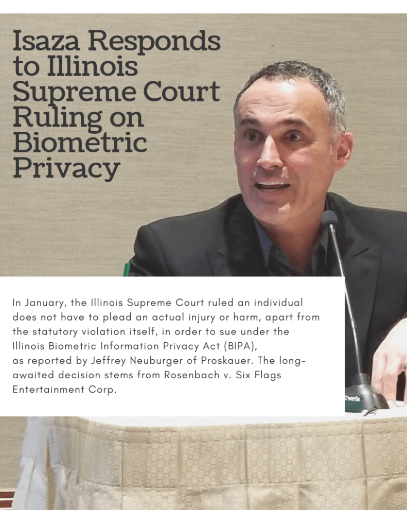 Isaza Responds to Illinois Supreme Court Ruling on Biometric Privacy (PDF)