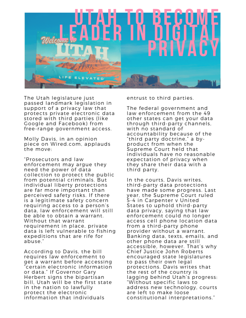 Utah to Become Leader in Digital Privacy
