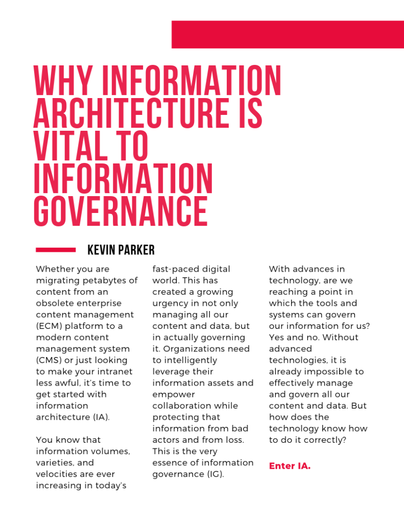 Why Information Architecture is Vital to Information Governance