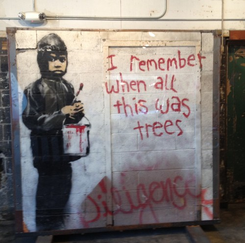 Banksy piece at 555 Nonprofit Gallery and Studios