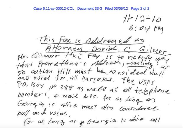The fax addressedto Kyros's attorney.