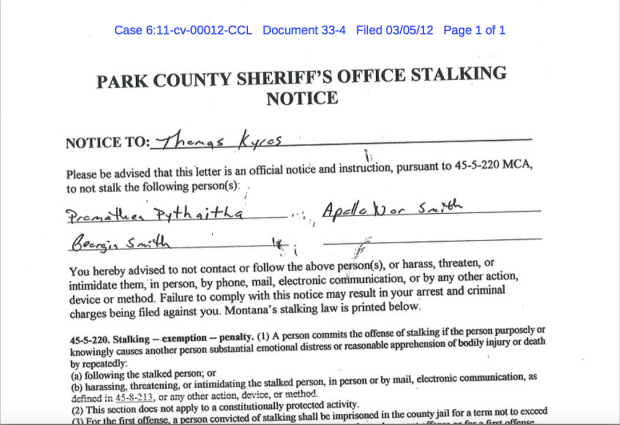 The January 12, 2011 stalking notice.