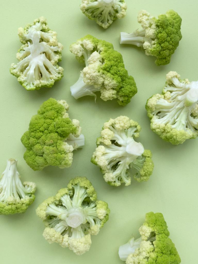 broccoli on a green background; vegetables