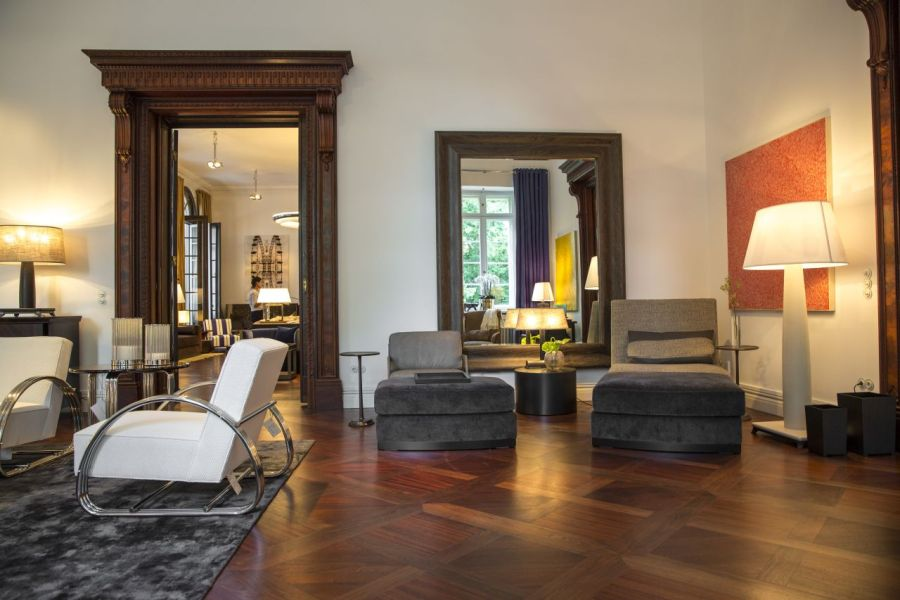Interior design store  Die Villa in a Berlin park One of the rooms with period parquet flooring