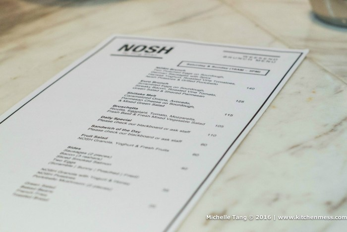 Nosh's brunch menu
