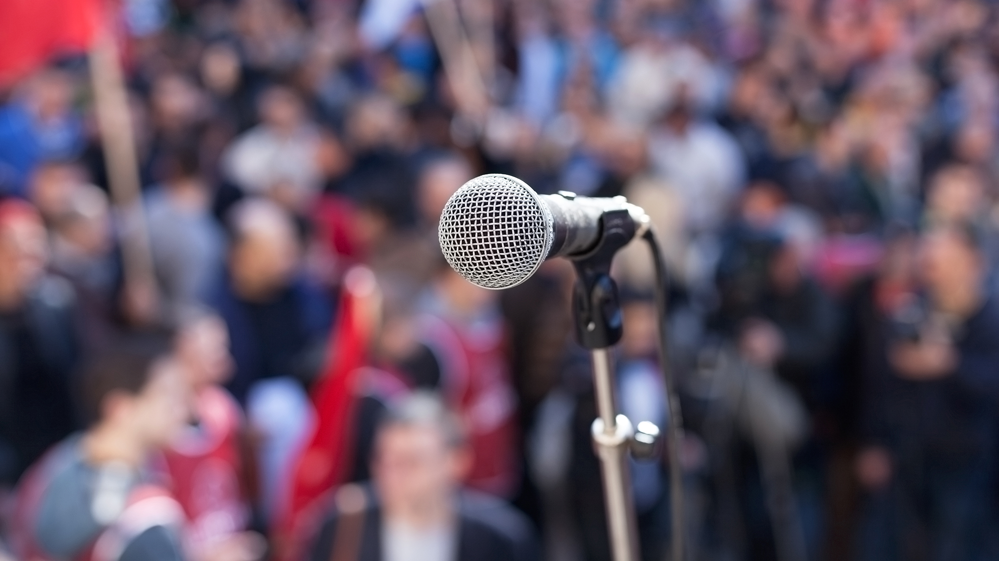 Microphone on stage at an event