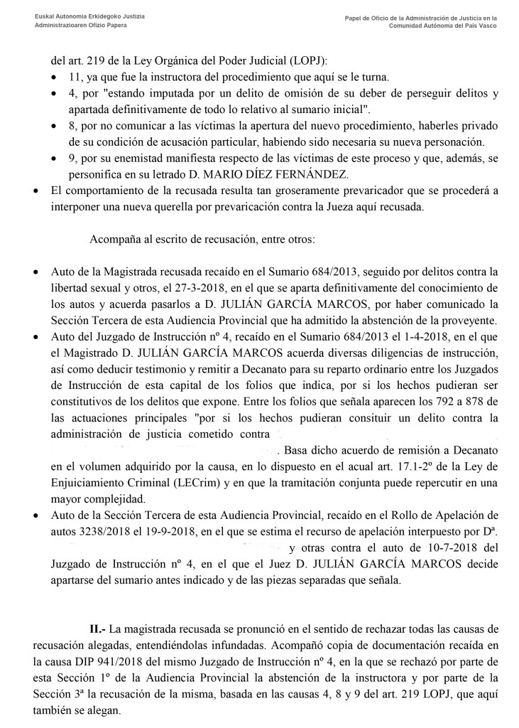 Audiencia Provincial Guipúzcoa prevaricación