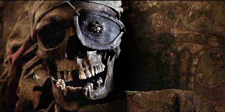Crâne d'un squelette dans les Goonies
