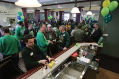 Miner alumni and friends gathered for breakfast and fellowship at Hasselmann Alumni House before the parade.