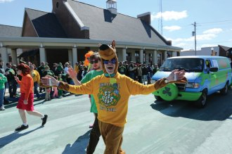 "This year's parade theme was ""St. Pat goes to the movies."" Sigma Tau Gamma's entry paid homage to Scooby Doo."