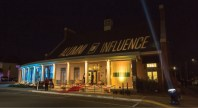 Hasselmann Alumni House lit up the night sky over Rolla for the Alumni of Influence gala. Banners on the porch honored each of the 10 honorees.